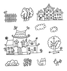 houses coloring page vector image vector image