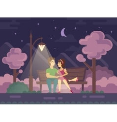 Kissing Couple on a Park Bench at Night vector image