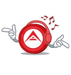 Listening music ark coin mascot cartoon vector