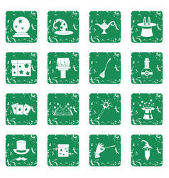 Magic icons set grunge vector