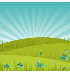 Meadow background at sunrise vector