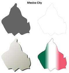 Mexico City blank outline map set vector image