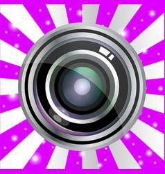 Modern realistic lens design on violet vintage vector