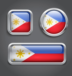 Philippines flag glass buttons vector