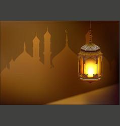 Ramadan kareem lamp Template greeting card vector image