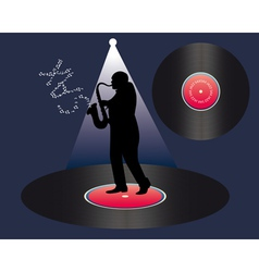 Saxophonist and vinyl vector