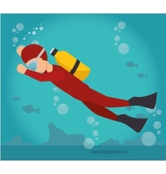 scuba diver water sport extreme activity vector image