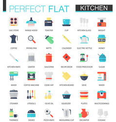 set of flat kitchen icons vector image vector image