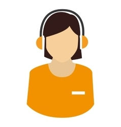 Silhouette person call center headphone isolated vector