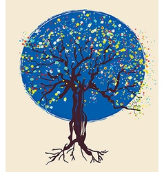 Tree decorative design at night vector image vector image