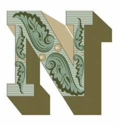 western letter n vector image