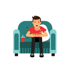 Young man sitting on a red armchair eating and vector