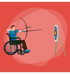 Disabled people on wheelchair aims and shoots a vector