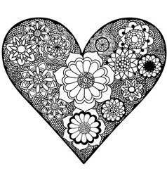 Floral patterned love heart ornament sketch vector