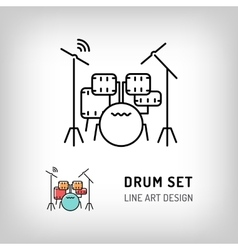 Drum set isolated line art icon music instrument vector
