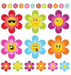 Flower smileys vector