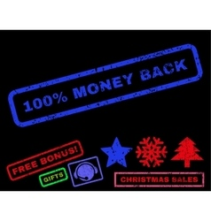 100 Percent Money Back Rubber Stamp vector image