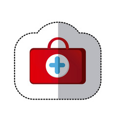 Color suitcase healthcare with blue hospital vector