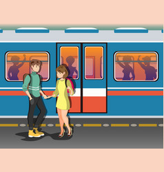 people in the subway background vector image