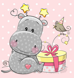 greeting card cute hippo with gift vector image