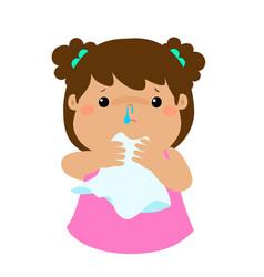 Sick girl runny nose vector