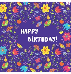 Happy birthday card with flowers frame vector