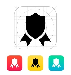 Shield with ribbon icon vector