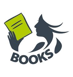 Logo girl reading a book vector