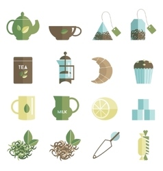Tea time icons set flat vector