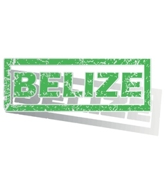 Green outlined belize stamp vector