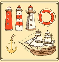 Sketch sea set in vintage style vector