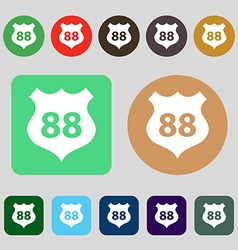Route 88 highway icon sign 12 colored buttons flat vector