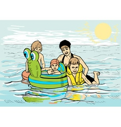 Family at sea vector