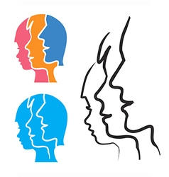 Family stlized head silhouettes vector