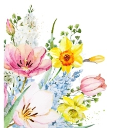 Watercolor floral composition vector