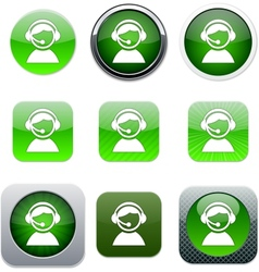 Operator green app icons vector image