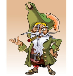 Dwarf cartoon character pirate with a cigar vector