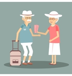 An Elderly Couple Travels vector image