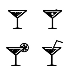 Black cocktail icons set vector