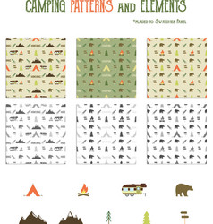 Camping patterns and hiking elements set - tent vector image vector image