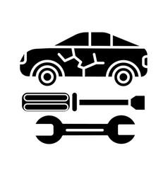 car service icon black sign vector image vector image