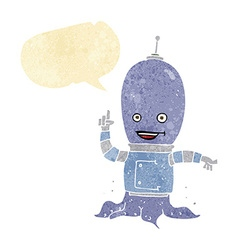 Cartoon alien spaceman with speech bubble vector