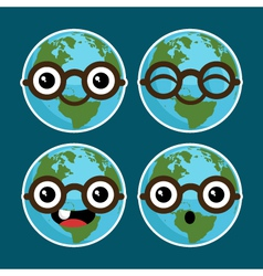 Cartoon Planet Earths with Eyeglasses vector image