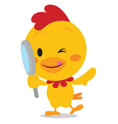 Chick with magnifying vector