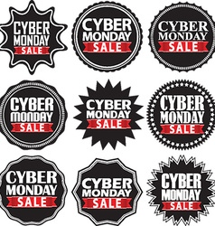 Cyber monday sale black signs set vector