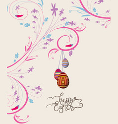 easter eggs doodle florals vintage background vector image