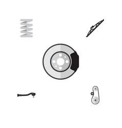 Flat component set of input technology metal vector