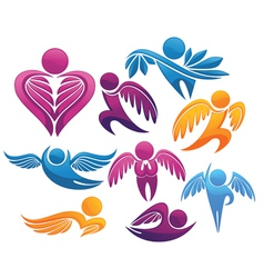 flying people symbols and signs vector image vector image