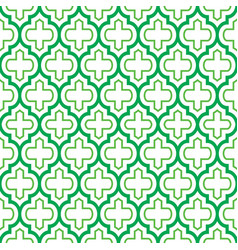 geometric seamless pattern moroccan green design vector image