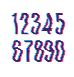 Glitch font with distortion stereoscopic effect vector
